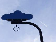 空白的路标有喷气机和蓝天背景 免版税图库摄影