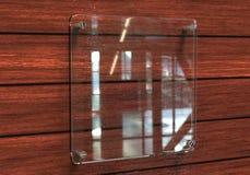 空白的透明玻璃内部办公室公司标志板材大模型, 3d翻译 办公室名字板极嘲笑在墙壁上 西尼亚 免版税库存照片