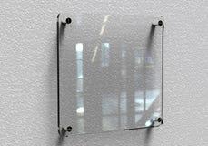 空白的透明玻璃内部办公室公司标志板材大模型, 3d翻译 办公室名字板极嘲笑在墙壁上 西尼亚 库存例证