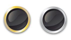 空白的金和银按钮 免版税库存照片