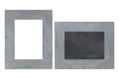 空白的金属画框由与黑板的真正的银制成 图库摄影