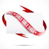 空白的销售标记。纸和红色丝带 库存图片
