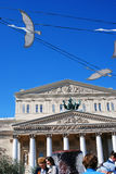 空白的鸟 胜利在剧院正方形的天装饰 免版税库存照片
