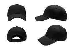 空白的黑棒球帽,帽子4视图 免版税库存图片