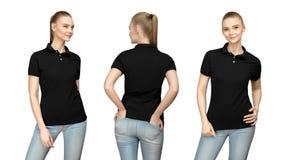 空白的黑球衣大模型设计的女孩印刷品的和支持看法被隔绝的T恤杉前面半轮边的模板妇女 免版税库存照片
