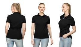 空白的黑球衣大模型设计的女孩印刷品的和支持看法被隔绝的T恤杉前面半轮边的模板妇女 库存图片