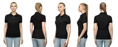 空白的黑球衣大模型设计的女孩印刷品的和T恤杉前面半轮nside的模板妇女支持看法被隔绝 库存图片