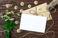 空白的贺卡和信封与白色春黄菊开花 图库摄影