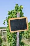 空白的黑板在葡萄园里 免版税图库摄影