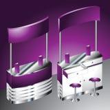空白的紫色商展柜台 库存图片