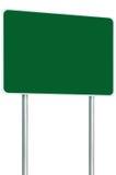 空白的绿色牌路标被隔绝的大透视拷贝空间白色框架路旁路标波兰人岗位交通标志 免版税库存照片