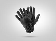 空白的黑色被编织的冬天手套大模型 免版税库存图片