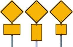 空白的黄色路标 库存图片