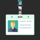 空白的id徽章,与具体化的名牌持有人 库存图片