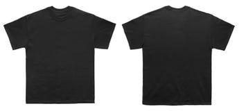 空白的T恤杉颜色黑色模板前面和后面视图 免版税库存照片