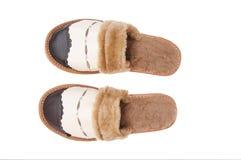 空白皮革整洁的拖鞋 免版税库存照片
