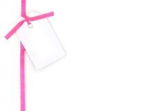 空白礼品粉红色丝带缎标签 库存图片
