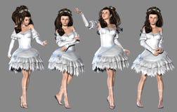 空白礼服的女孩 免版税库存照片