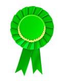 空白绿色证书徽章。 免版税库存照片