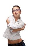 空白美丽的女孩的玻璃 免版税库存图片