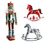 空白背景圣诞节玻璃查出的范围的玩具 胡桃钳,马 水彩手图画例证 库存例证