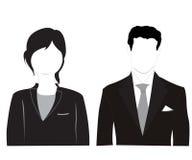 空白背景女性男性的剪影 免版税库存照片