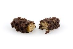 空白背景巧克力查出的薄酥饼 免版税库存照片