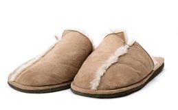 空白背景房子查出的拖鞋 免版税库存照片