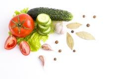 空白背景接近的重点新鲜的有选择性的蔬菜 从vegetab的构成 库存照片