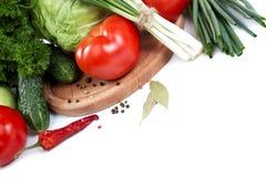 空白背景接近的重点新鲜的有选择性的蔬菜 图库摄影