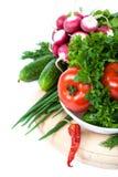 空白背景接近的重点新鲜的有选择性的蔬菜 免版税库存照片