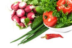 空白背景接近的重点新鲜的有选择性的蔬菜 库存图片