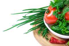 空白背景接近的重点新鲜的有选择性的蔬菜 免版税图库摄影