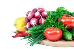 空白背景接近的重点新鲜的有选择性的蔬菜 免版税库存图片