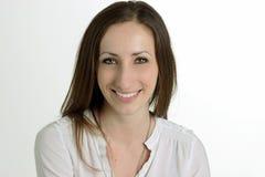 空白背景的微笑的妇女 免版税图库摄影