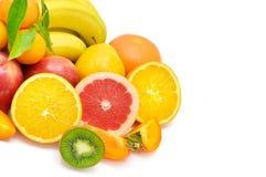 空白背景的果子被设置 文本的空位 免版税库存照片