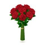 空白背景花束红色的玫瑰 库存照片