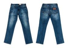 空白背景蓝色查出的牛仔裤 库存图片