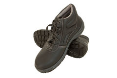 空白背景褐色查出的安全靴 免版税库存照片