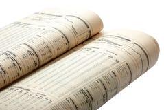 空白背景财务查出的报纸 免版税库存照片