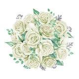 空白花束的玫瑰 额嘴装饰飞行例证图象其纸部分燕子水彩 逗人喜爱的葡萄酒样式花圈,边界,框架 免版税图库摄影