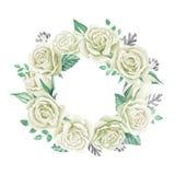 空白花束的玫瑰 额嘴装饰飞行例证图象其纸部分燕子水彩 逗人喜爱的葡萄酒样式花圈,边界,框架 库存图片