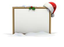 空白董事会圣诞节季节性雪 库存照片