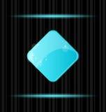 空白蓝色按钮光滑的反映万维网 库存例证