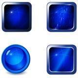 空白蓝色按钮光滑的金属集万维网 免版税库存照片