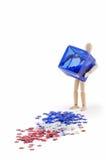空白蓝色框红色溢出的星形 免版税库存照片