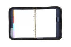 空白蓝色被开张的盖子直接织品笔记本 库存照片