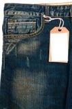 空白蓝色详细资料牛仔裤商标纸标签 免版税库存图片