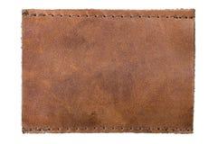 空白衣物查出的牛仔裤标记皮革标签 免版税库存照片