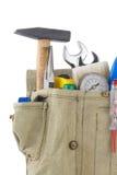 空白袋子配件箱查出的集合的工具 库存照片